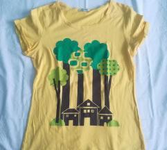 Sárga, nyomott mintás póló
