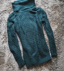 Sisley sötétzöld kötött pulóver S