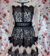 Új bézs- fekete csipkés skater ruha