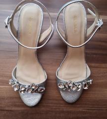 Ezüst esküvői szandál