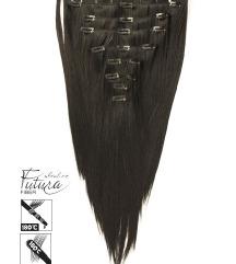 Csatos póthaj szett FUTURA haj - Nagyon sötétbarna