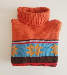 Norvég mintás gyapjú pulóver