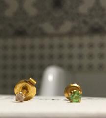 Víztiszta és zöld orvosi fém fülbevalók