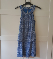 Gyöngyös kék-fehér mintás Orsay ruha