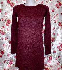 Új bordó piros puha mini ruha S-M,M kb.