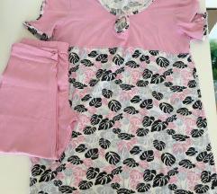 Női rózsaszín mintás pizsama M-L