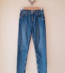 TOPSHOP koptatott kék magas derekú MOM jeans XS/S