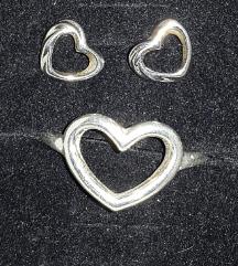 Szív ezüst gyűrű &fülbevaló 925