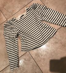 Zara csíkos buggyos vállú pulcsi S