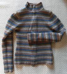 S - Csíkos, szürke-kék-barna kardigán, pulcsi