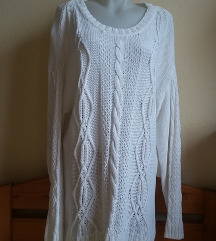 H&M fehér kötött pulóver, L-es