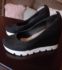 Fekete vászon platformcipő
