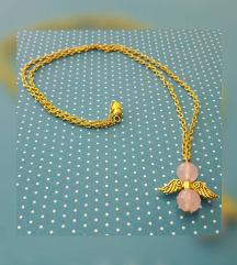 Rózsakvarc angyalkás nyaklánc