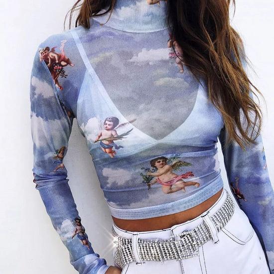 Átlátszó angyalos mesh top kék