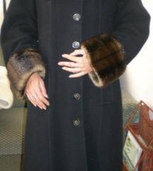 Fekete szőrme galléros hosszú gyapjú szövet kabát