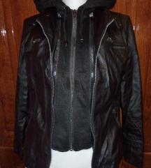 Új fekete műbőr zakó/kabát Xs-S