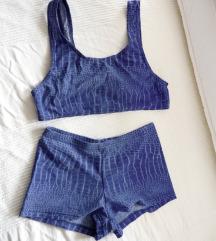 ❤ Új kobaltkék vízmintás sportos bikini
