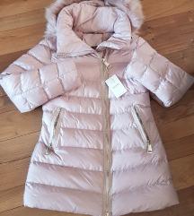 Új púder színű/rózsaszín bélelt télikabát, M-L