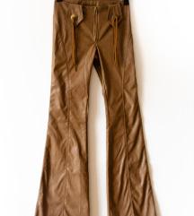 Western stílusú Cowgirl barna bőrnadrág XXS