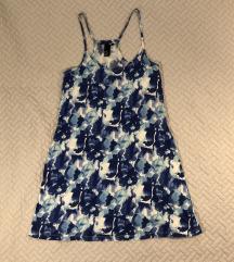 Virágmintás kék fehér pamut ruha