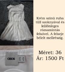 Krém színű ruha tüll szoknyával és rózsás felsővel