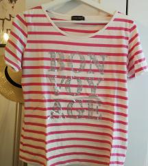 Pink fehér csíkos rövidujjú nyári póló