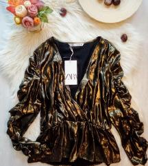 Címkés Zara bronz húzott ujjú blúz L