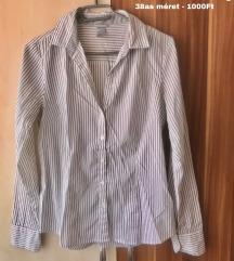 H&M fehér-szürke csíkos ing 38as méret 1000Ft