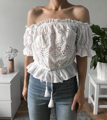 Fehér húzott crop top