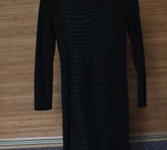 Fekete mini, anyagában mintás ruha