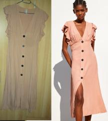 Zara őszibarack vászon nyári ruha S M