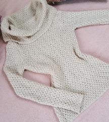Bézs meleg kötött garbós pulcsi + ajándék