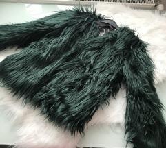 Méregzöld szőrme kabát S/M Új