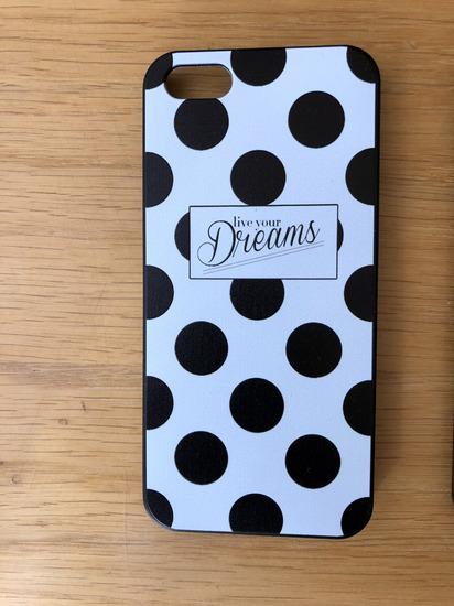 Retro fekete-fehér pöttyös iPhone 5/SE tok. ÚJ!