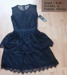 CÍMKÉS olasz fekete ruha