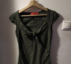 Katonazöld felső/póló v kivágással, megkötős - S/M