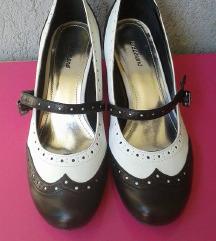 Fekete-fehér kerek orrú pántos cipő