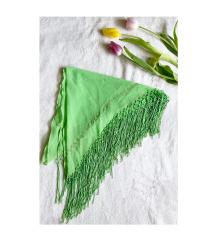 Zöld rojtos (strand)kendő / sál arany mintával