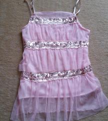 Rózsaszín tüllös flitteres divatos pántos felső