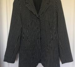 Vintage, hosszanti csíkos, fekete blézer M