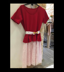 Menyecske ruha piros fehér csipke alj véggel