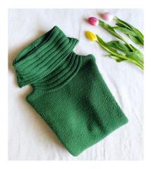 H&M DIVIDED zöld kötött vastag garbós pulóver
