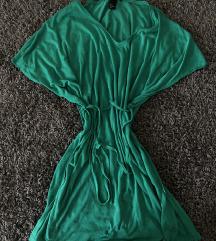 h&m zöld strandruha elegáns v nyakú nyári