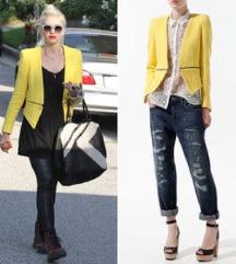 Zara citromsárga tweed zakó, blézer