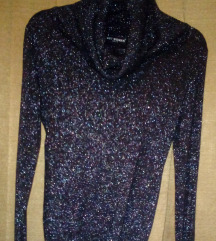 Kámzsa nyakú, fekete, ezüstös alkalmi pulóver