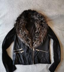 F&F fekete bőr női szőrmés kabát dzseki
