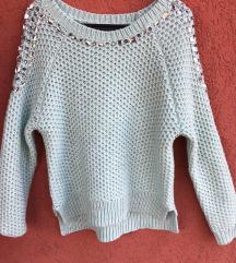 Strasszköves mentazöld kötött pulóver