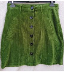 Zöld, kordbársony szoknya