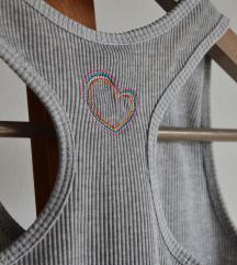 COCOLULU bordás trikó szívecskével Japánból XS/S