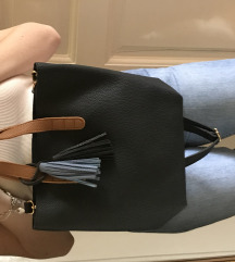 Kék vegán bőr táska pánttal
